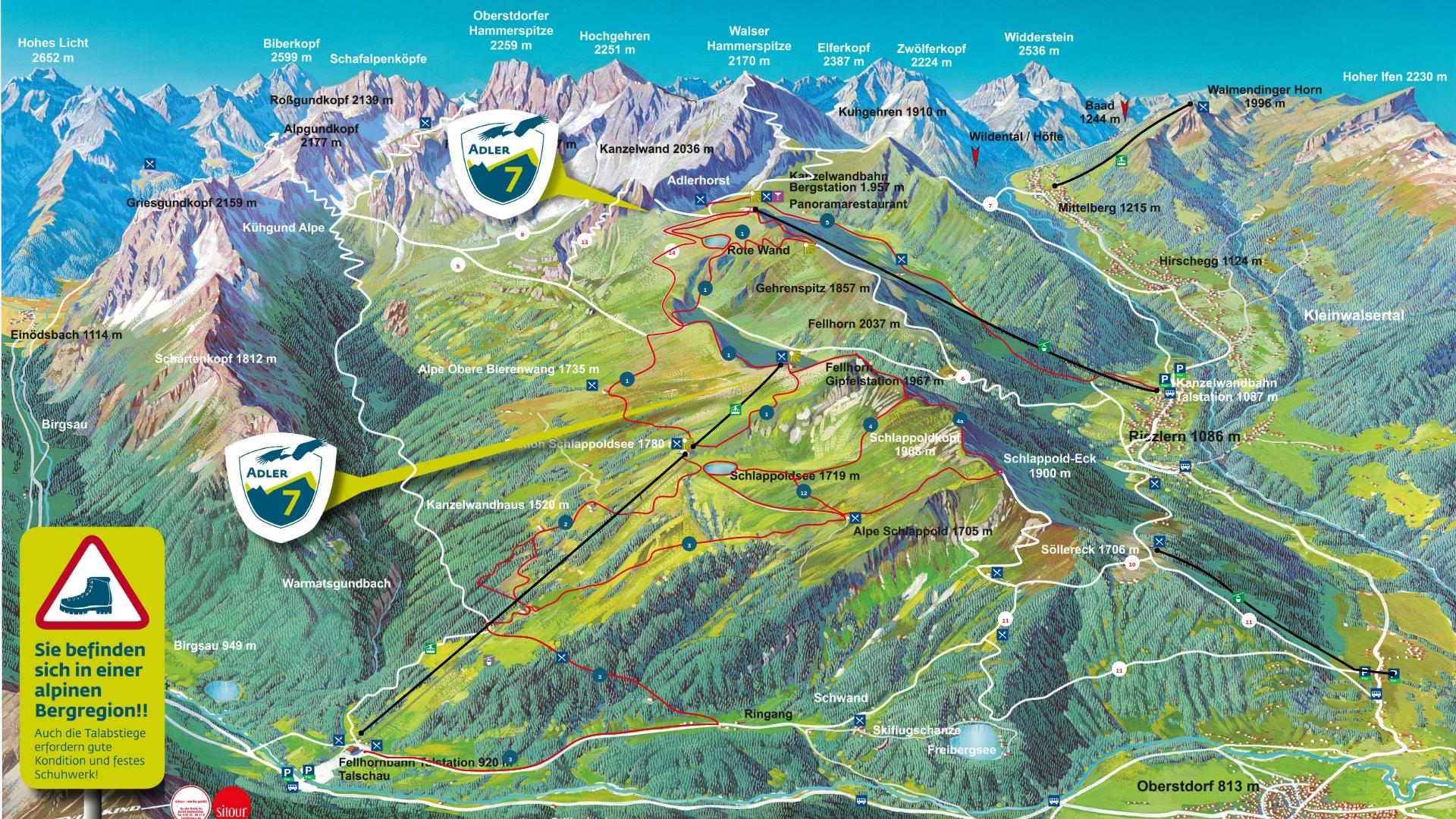 Pistenplan: Fellhorn / Kanzelwand